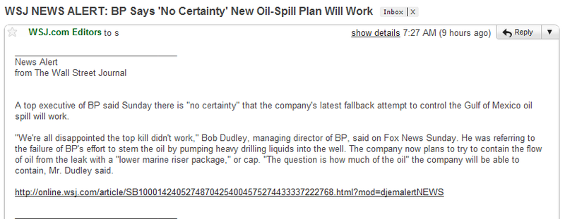 WSJ NEWS ALERT: BP Says 'No Certainty' New Oil-Spill Plan Will Work
